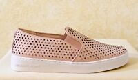 Women MK Michael Kors Keaton Slip On Sneakers Shoes Lasered Leather Soft Pink