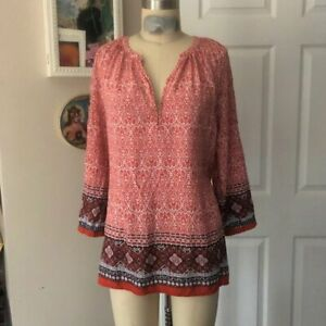 MACY*S Red Floral Indian Bohemian Lounge fit 3/4 sleeve Tunic Shirt *MEDIUM*