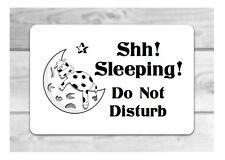 Shh Sleeping Do Not Disturb Metal Sign: hang or stick to bedroom door or wall