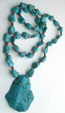 Magnifique grand collier sautoir pendentif perles vrai turquoise bijou vintage