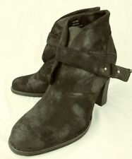 Crown Vintage Wos 3312808 Ankle Boots 8.5M Black Fabric Hook Loop Heel Booties 7