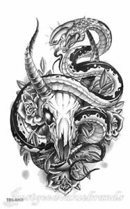 Black Mamba Serpent Rum Skull Peony Gothic Black Noir Temporary Tattoo