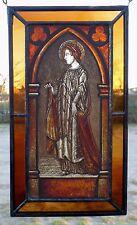 """Bleiverglasung Fensterbild feine alte Glasmalerei """"Heiliger"""" auf E.- Antikglas"""