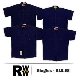 Bulwark Flame Resistant Shirt Navy Blue Short Sleeve 2 Pocket FR Clothes Uniform