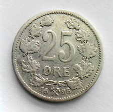 1898 NORWAY SILVER Coin 25 Ore - SCARCE