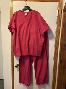 Sb Scrubs 3x Dark Pink Scrub Set Shirt And Pant