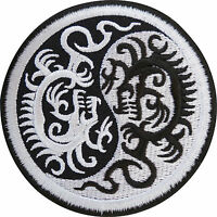 Yin and Yang Chinese Dragon Embroidered Iron / Sew On Patch T Shirt Jacket Badge