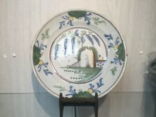 Antique Dutch Plate 18th century delft blue delftware delfts plate polychrome