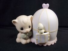 Precious Moments figurine Can't be without you Enesco 1990 Cat & bird cage