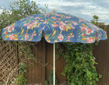Vintage Retro 80's Blue Canvas Pink Orange Yellow Floral Garden Sun Parasol