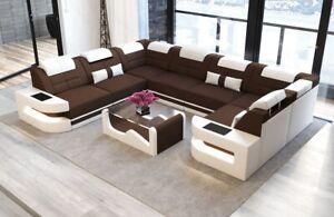 Wohnlandschaft Modern Couch COMO U Form Sofa Mikrofaser Braun Polstercouch LED