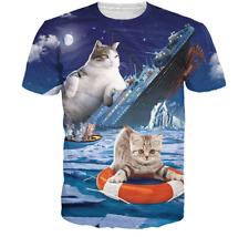 New Fashion Womens/Mens Titanic Cat Funny 3D Print Casual T-Shirt JK163