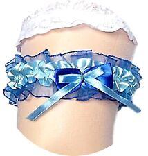 XXL Braut Strumpfband bis 80 cm blau dunkelblau Schleife Hochzeit Satin Tüll