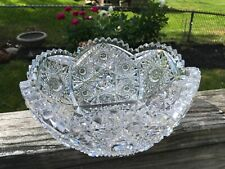 "Vintage AMERICAN BRILLIANT Cut Glass  8""  Bowl HUNT Rosettes & Stars"