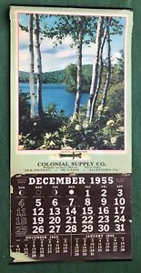 Vintage 1955 Advertising Calendar Colonial Supply Co Allentown PA Vacation