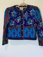 Vintage Act I New York Quilted Cropped Jacket Blue size Large