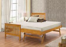 Toronto 90cm 3FT Single Guest Bed Frame Solid Wood Trundle Bedstead Oak