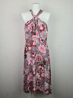 Portmans Signature Pink & Purple Knot Hi Low Floral Midi Dress Women's Size 10