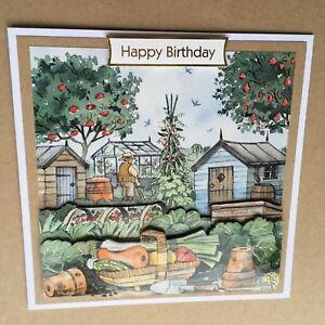 "Handmade Happy Birthday 3D decoupage allotment vegetable gardener card  6"" x 6"""