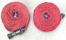 2 50 Fire Hose Sections With Aluminum Red Head Couplings Amp Elkhart Brass Nozzle
