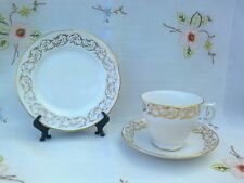 VINTAGE QUEEN ANNE BONE CHINA WHITE AND GILT TRIO