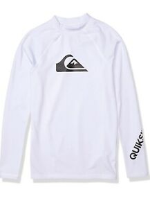 NWD Quiksilver Time White Long Sleeve Rashguard Surf Shirt Boys Youth Size M/12