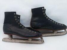 Black Vintage Davega 20th Century Speed Skates Ice Skates Goodyear Stretched