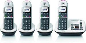 Motorola Cordless 4Handset Phone w/ Answer Machine, 10dB Amplication MOTO-CD5014