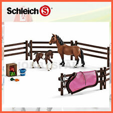NEW SCHLEICH 42192 PADDOCK w HORSE & PONY FARM LIFE PLAY SET HAND FINISHED