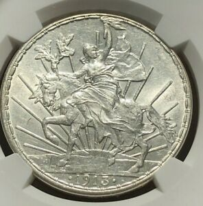 1913 Mexico One Peso Silver Caballito  - NGC MS62