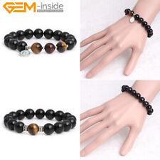10mm Black Obsidian Beaded Natural Round Stretch Handmade Jewelry Bracelet 7''
