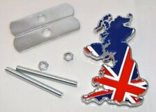 Chrome Metal Union Jack Flag Map Car Front Grill Badge And Boot Badge Set UK