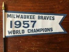"Milwaukee Braves 1957 World Series Championship Replica Banner Mini Flag 7"" x 3"""