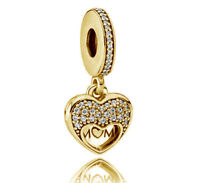 Genuine PANDORA I Love My Mum Pendant Charm 14K Gold Plated 792071CZ Vermeil