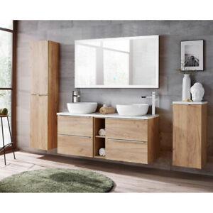 Badmöbel Set 140cm Doppel-Waschtisch LED Spiegel Hochschrank Unterschrank Eiche