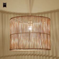 Hand Woven Wicker Rattan Cage Pendant Light Fixture Country Hanging Ceiling Lamp