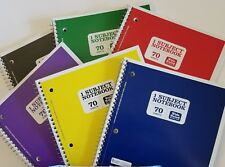 Spiral Notebook College Ruled 1 subject Red+Yellow+Blue+Black+Gre en+Purple, 6 Pk