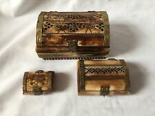 BONE JEWELERY BOXES SET OF 3 CHEST DESIGN WITH BRASS INLAYS