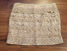 NWT $38 Sm Francesca's tini lili Gold Lace Mini Skirt Stunning!!