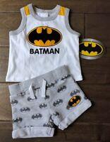 DC COMICS Batman Logo Baby NB Newborn Two Piece Terry Short Tank Top Outfit Set