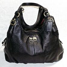 RRP$395 COACH Black Leather Designer Shoulder Bag/Handbag/Madison Maggie Hobo