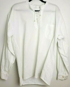 Men's Pirate Lace Up Shirt Medieval Victorian Costume Cosplay Size XL Flaw*