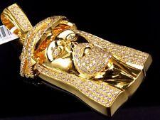 Solid 10K Yellow Gold Jesus Face Piece VS2-SI1 2.5 Inch Diamond Pendant 5.0ct.