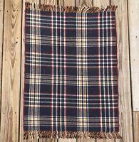 Wool Saddle Lap Blanket Rug Fringe Plaid 37 x 29 Reversible Vintage