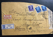 1942 Cetinje Montenegro Cover to Klos Albania Concentration Camp Italy stamps