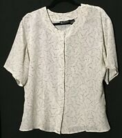 Vtg 80's sophisticates by Jonathan Martin Silky Sparkle button blouse Size 12 SS