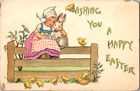 Vintage C. 1910 Wishing You A Happy Easter Girl Hugging Bunny Tuck Postcard