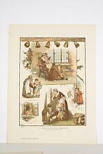 Illustration Christmas Scènes de Noel Enfance Hiver par Miss STAPLES datée 1883