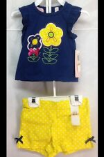 SZ 12 M Baby Clothes By Kids Headquarters FLOWERS NAVI TOP & YELLOW MSRP $34 NEW