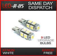 2 x 9 LED Light Bulbs Capless 501 W5W Car Front Sidelight 12v T10 Canbus WHITE
